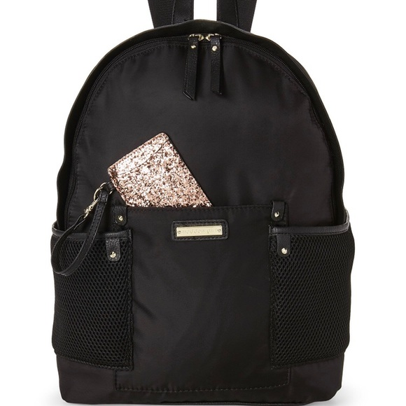 8723e1e4ef295 New Black Gold Madden Girl Backpack Mesh Pockets